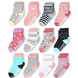 CozyWay Toddler Girls Non Slip Cotton Crew Socks Anti Skid With Grips 12 Pairs for Children Kids Boys 1-3 Years