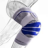 Knee Brace Compression Sleeve, Elastic Knee Wraps Patella Stabilizer with Silicone Gel Spring Support, Hinged Kneepads Protector for Meniscus Tear Arthritis Running Men Women