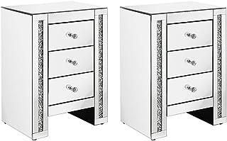 Lot de 2 Tables de Chevets Miroir en Verre Meuble de Rangement avec 3 Tiroirs sur Salon, Chambre, Bureau, 42 x 32 x 60 cm
