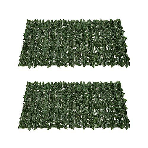 Sichtschutz Künstliche Blatt Hecke Erweiterbare Zaun Spalier Efeu Blätter Panels Balkon Sichtschutzhecke für Garten Yard Party 0,5x1m-Dark Green 2pcs