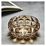 Cenicero de vidrio con tapa Cenicero de cristal creativo cenicero de estilo europeo de moda sala de estar redonda de mesa oficina de oficina caja de bandeja de almacenamiento Cenicero de cristal