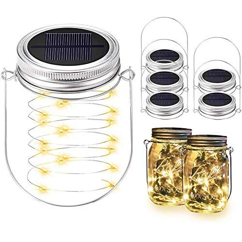 Vingtank 5pcs Original Solarlampe, Solar-Laterne im Einmachglas aus Südafrika Auch Als Gartenleuchte oder Hängeleuchte - Gemütliches Sonnenlicht
