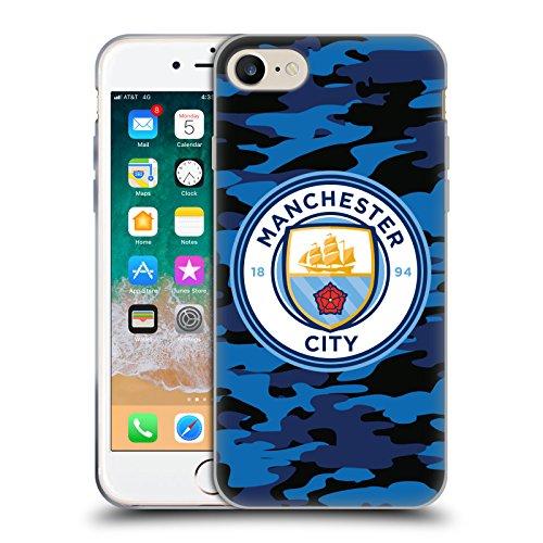 Head Case Designs Offizielle Manchester City Man City FC Mond Dunkelblau Abzeichen Camou Soft Gel Handyhülle Hülle Huelle kompatibel mit Apple iPhone 7 / iPhone 8 / iPhone SE 2020