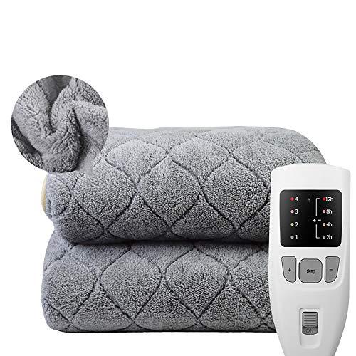 Manta calefactora de franela, desconexión automática, manta cálida, 4 niveles de temperatura, 12 horas de funcionamiento, lavable 180 x 80 cm