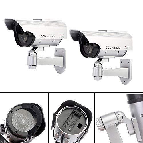 2 Pack Solar Power Batterie Dummy Gefälschte Sicherheit ROTE LED CCTV Kamera Überwachung