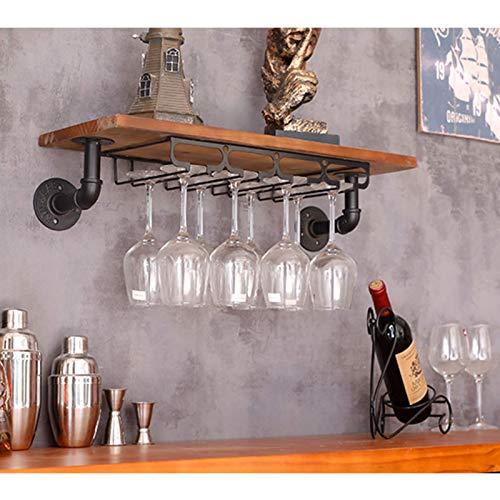 zyl Soporte para Copas de Vino botellero montado en la Pared Soporte para Copas de Vino Soporte para Copas Colgantes Hierro Dorado diseño Moderno Estante de Vidrio para Cocina de Bar Negro (Tama