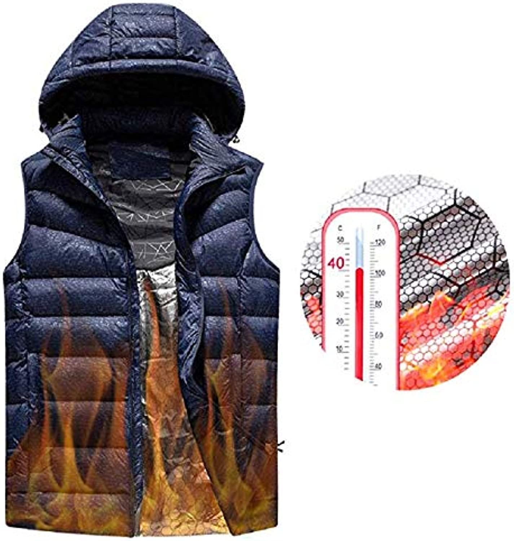 AUTRUN Man es Upgrade Electric Heated Weste Leichtgewicht USB-Rechagable Heizung Warm Waistcoat Down Gilet