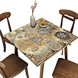 World Map Tablecloth Square Fitted, Old World map Nautical Needle Table Cover Water Resistant Polyester Washable for Indoor Outdoor Party & Banquet Dinner, Fits Square Table Maximum 36 x 36 Inch