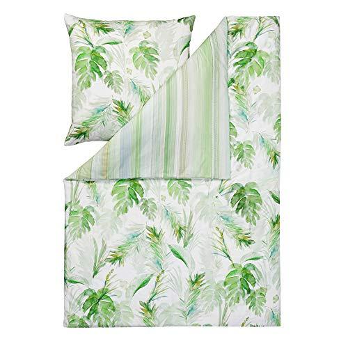 ESTELLA Ropa de cama Tropicana | Verde | 140 x 200 + 70 x 90 cm | satén mako con brillo sedoso | apto para secadora | transpirable y suave | 100% algodón
