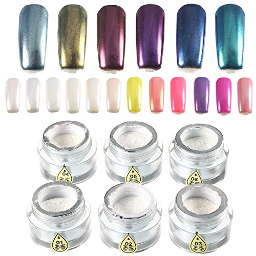 6 Kleuren Magic Mirror Chrome Parel Shell Luster Poeder Stof Decoraties Glitter Pigment