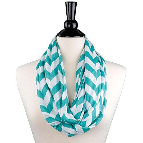 Shop Pop Fashion - Chevron Zipper Pocket Scarf for Women - Stores Keys, Wallet, Phone (Teal)