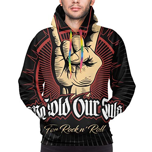 Sudadera con Capucha para Hombres Hard Rock, Heavy Metal, Sign of The Horns, Rock Sign Hand, Rock Vector Logo. Camisa de Entrenamiento