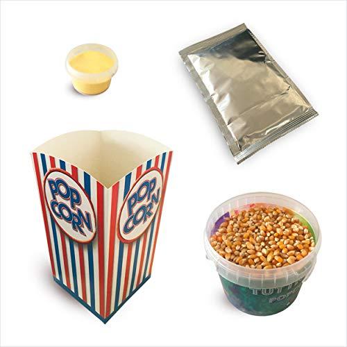 Fun Food Italia Kit Ingredienti per la Preparazione di 10 'Spadellate' Popcorn al Gusto Salato + 10 Bicchieri in Cartone Stile Cinema