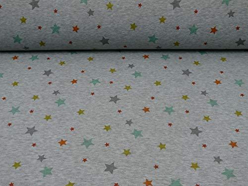 Alpenfleece Sterne orange/gelb/mint, meliert (25cm x 145cm)