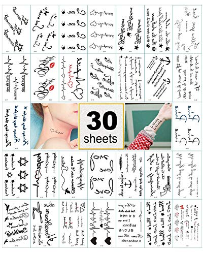 Black Temporary Tattoo Stickers for Women, Kids, Men, Girls – 100+ Different Transfer Stickers, Fake Tattoos Waterproof, Hand Tattoo Stickers with Star, Heart, Chinese