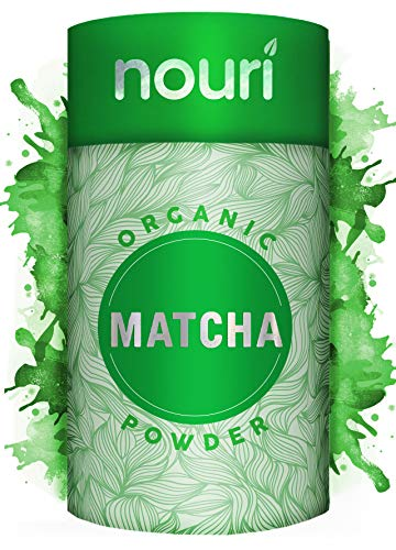 Nouri Organic Matcha Green Tea Powder, Ceremonial Grade,100g (100 Servings) Pesticide-Free, Vegan & Vegetarian - Hot & Cold Drinks, Cooking & Baking