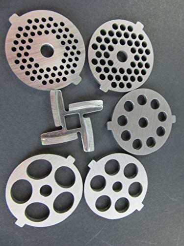 6 Piece Set Grinding Plate Discs and Knife for the white Kitchenaid...