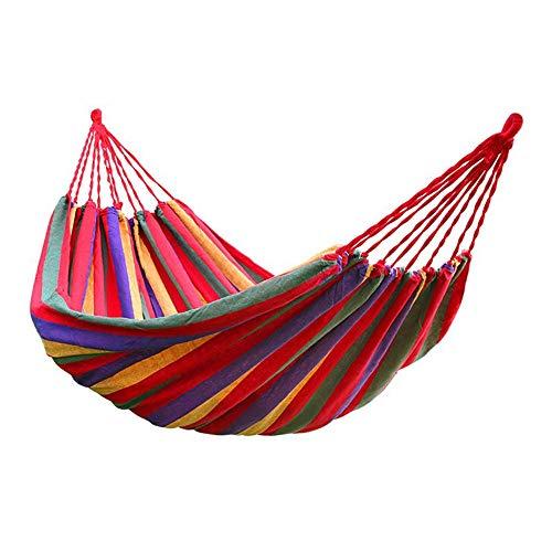 Aolongwl hamaca al aire libre 190 cm x 80 cm raya colgante cama lona hamaca 120 kg