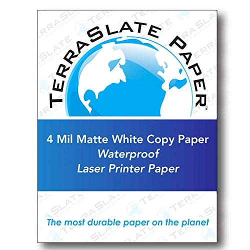 TerraSlate Copy Paper Waterproof Laser Printer, Rain Weatherproof, 4 MIL, 8.5x11-inch, 25 Sheets