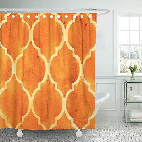 XZLWW Aquarel gordijn met gehaakte bruin bruin kwatrijs patroon in aquarel oranje ingerichte badkamer