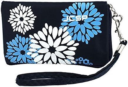 Titular Oscuro Bolsa Patrón monedero Azul de la Flor Para el teléfono móvil Teclas Mp4