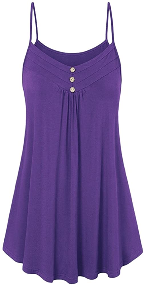 Womens Camis Tops Loose Fashion Solid Color Sleeveless Casual Tank Tops Shirts Summer Camisole Vest Tunic Tops Purple