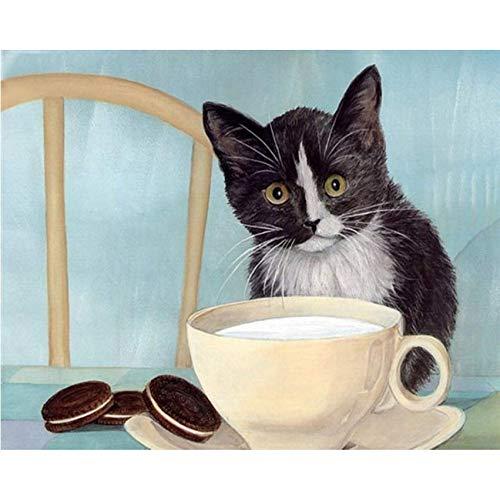 Djkaa kattenvoer met dieren, doe-het-zelf schilderij op nummers, schilderij op canvas, muurkunst, afbeelding 40 x 50 cm, uniek cadeau (lijst hebben)