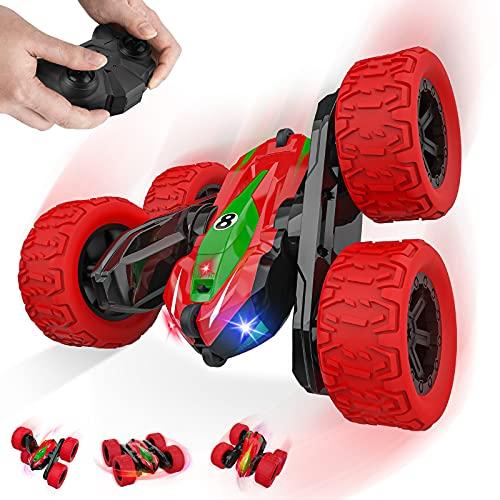 Baztoy Coche Teledirigido, 4x4 Coche Acrobacia Moto Camion Radiocontrol Rotación Volteo...