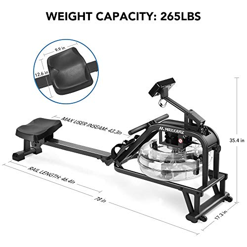 dimensions of a maxkare water rowing machine