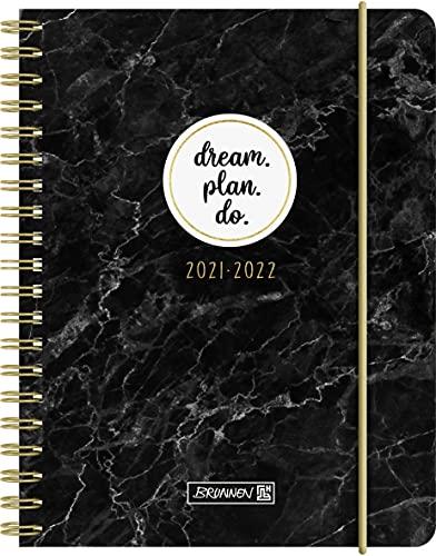 """BRUNNEN 1071755022 Schülerkalender 2021/2022 """"Marble"""" 1 Seite = 1 Tag, Sa. + So. auf einer Seite, Blattgröße 12 x 16 cm, A6, PP-Einband"""