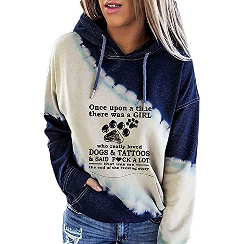 Maxte Sudadera para mujer Once Upon A Time There Was A Girl Who Really Loved Dogs and Tattoos
