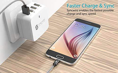 Syncwire Micro USB Kabel [2-Pack, 2m] 2.4A USB Ladekabel - Schnellladekabel für Android Smartphones, Samsung, HTC, Sony, Nexus und mehr - Nylon Space Grau