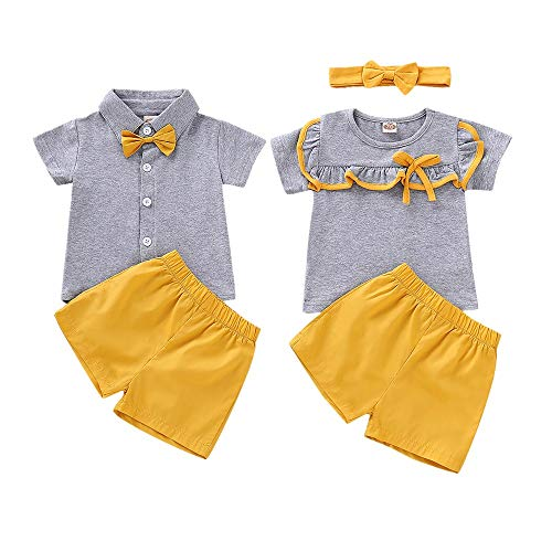Baby Boy Girl Brother and Sister Matching Outfits Short Sleeve Tops + Shorts Set (2-3T, for Girl)
