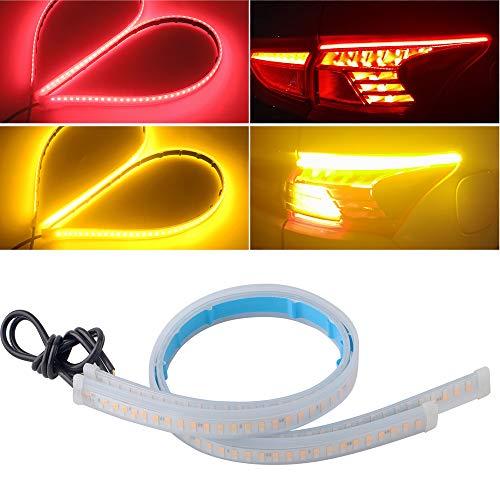 EverBright DRL Led Strip Light for Cars, Led Headlight Strip for Daytime Running Lights Turn Signal Bulb Tail Brake Light Sepuential Switchback Led Strip Amber/Yellow & Red (2Pcs 30CM/12Inch)