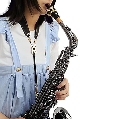 Rochix Saxophone Sax Black Neck Strap for Baritone Alto Tenor Soprano Sax,Super fiber,Metal Hook,Musical Instruments Accessories Parts