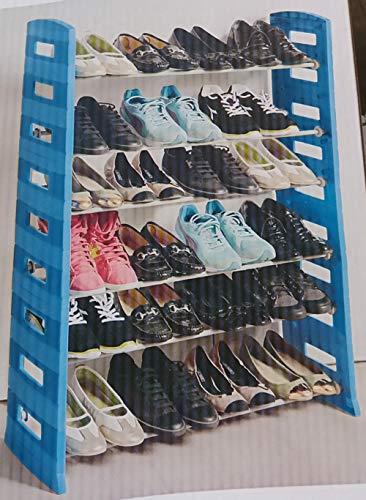 SF Savino Filippo schoenenkast voor schoenen, met 6 niveaus van kunsthars, antraciet en staal voor het huishouden, bergruimte, gang