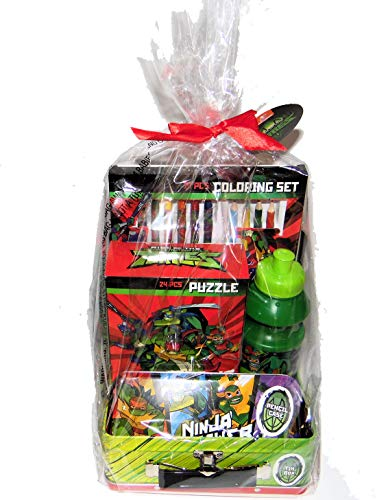Easter Play Gift Set Ninja Turtles, Water Bottle, Crayons, Pencil Box, Water Color Paints, Puzzle, Color Pencils, in a Metal Gift Lunch Box Tin