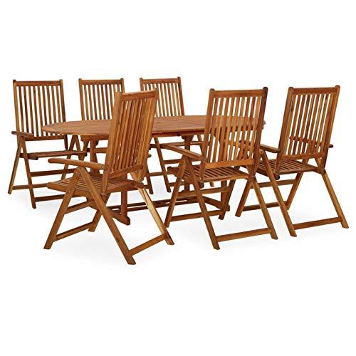 Tidyard Muebles de Jardin Exterior Conjuntos Juego de Comedor de jardín 7 pzas Madera Maciza de Acacia