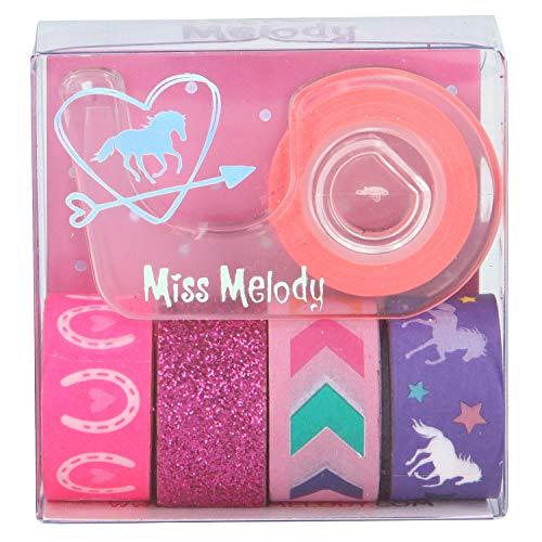 Depesche 5719 Deko Tape Miss Melody, buntes Klebeband, 5 Rollen inklusive Abroller, sortiert