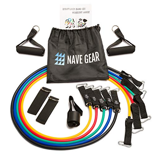 Nave Gear 11 pcs Resistance Bands Set - Resistance Bands with Door Anchor, Handles, and Ankle Straps Stackable up to 150lbs - Full Body Exercise Resistance Bands Set for Home Workout and Gym.