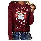 MINYING T-Shirt Femme Imprimé Noël, Christmas Sweat-Shirt Hiver Tops T-Shirt Femmes Imprimé Renne Wapiti de Noël Chemisier Hauts à Manches Longues Col Rond Bouton Irrégulier Vêtements Femmes
