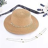 SRQOESFF Sombrero de Copa Verano Mujeres Estilo Coreano Casual sombrilla Ancho Alza Plana Plana al Aire Libre Vacaciones Playa Sombreros de Paja Lad Cadena Cadena Sol Sombrero Anti-UV