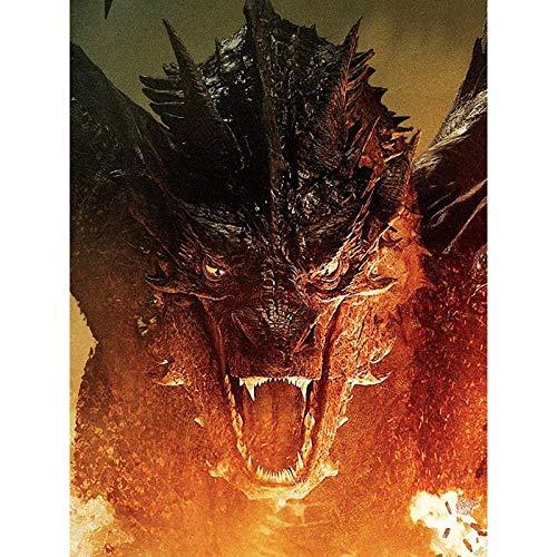 LMMLYR 5D DIY Pintura Diamante anillo dragón dragón de fuego 5D Punto de Cruz Diamante, Redondo Rhinestone Mosaico decoración manualidades,16x20 pulgada