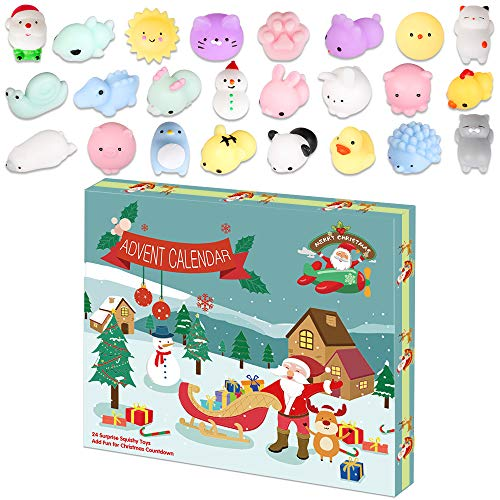 LetsFunny Advent Calendar Squishy Toy 2020 Christmas Countdown Calendar for Girls and Boys Kids Adults 24Pcs Different Mochi Squishy Animals Toys Include Snowman and Santa