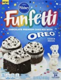 """Contains 12 - 15.25 Ounce boxes of Pillsbury Funfetti Oreo Chocolate cake Oreo Cookie pieces included within the mix Rich and savory chocolate flavor with Oreo Cookie pieces Makes 24 cupcakes or one 9"""" X 13"""" Cake 3 ingredients & 3 Easy steps"""