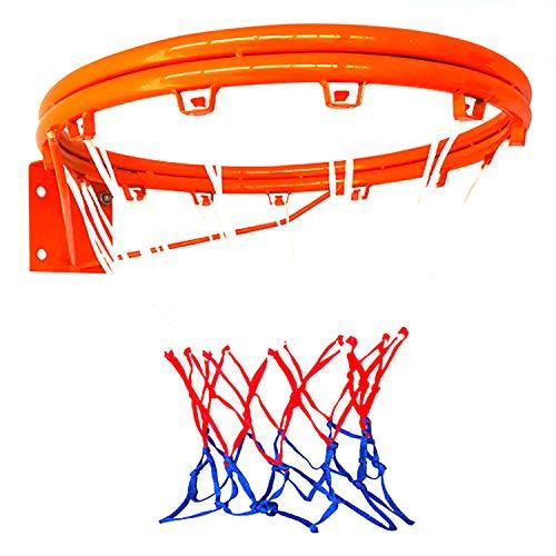 ZZLYY Aro De Baloncesto para Adultos,Aro De Baloncesto Hueco Reforzado De Doble Capa,Adecuado para Deportes Y Fitness En Interiores Y Exteriores, con 2 Redes De Baloncesto, Naranja