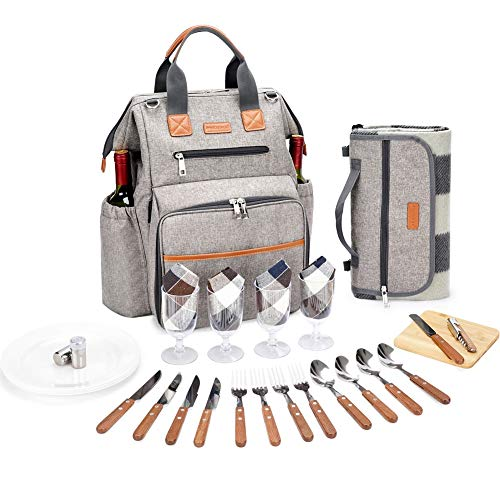 HappyPicnic Picnic Backpack for 4 Person Set Pack with Insulated Waterproof Pouch for Family Outdoor Camping - Khaki