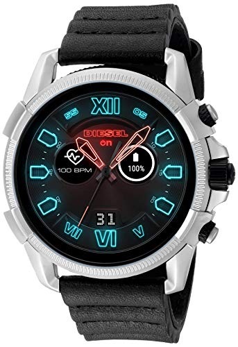 Diesel Men's Stainless Steel Touchscreen Watch with Silicone Band Strap, Black, 22 (Model: DZT2008)