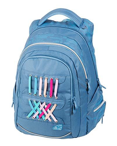 Walker 42034-071 - Rucksack Fame Laces in hellblau, mit 3 Fächern, Seitentaschen, atmungsaktive Polster und Brustgurt, ca. 44 x 32 x 24 cm, 32 Liter