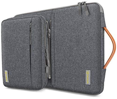 iNeseon 360° Schutz Laptop Hülle Tasche für 14 Zoll Acer ASUS Dell HP Lenovo Huawei Chromebook Ultrabook, Schutzhülle Tragetasche Notebooktasche mit Abnehmbarer Zubehörtasche, Dunkelgrau
